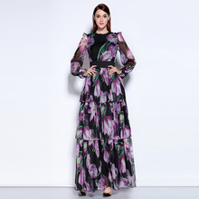 Long-Dress Purple Women Ankle-Length Bohemian Full-Sleeve Fashion Summer Print O-Neck