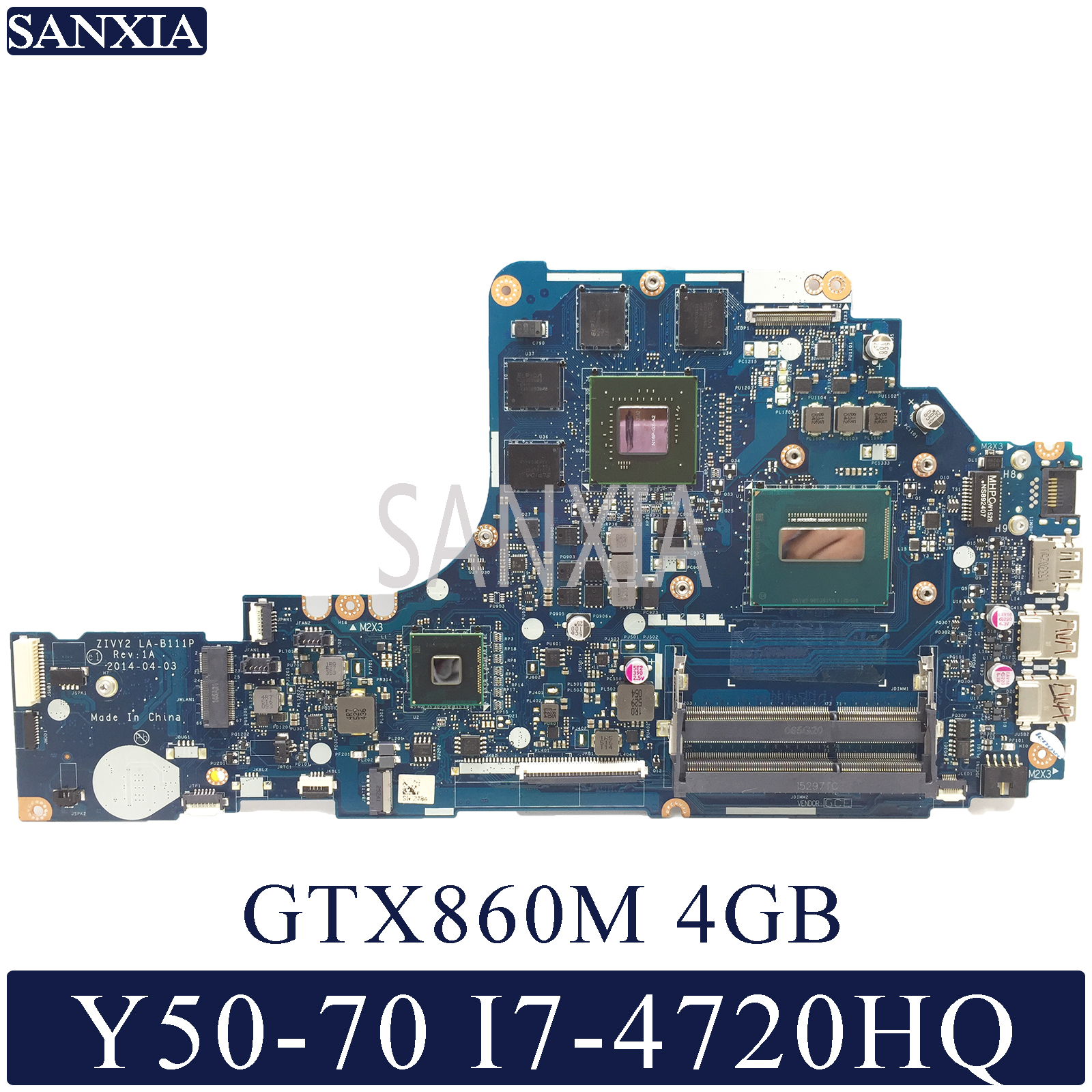 KEFU LA-B111P Laptop Motherboard For Lenovo Y50-70 Original Mainboard I7-4720HQ/4710HQ GTX860M-4GB