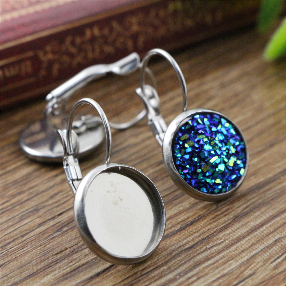 ( No Fade ) 12mm 10pcs Stainless Steel French Lever Back Earrings Blank/Base,Fit 12mm Glass Cabochons,Buttons-(L3-08)
