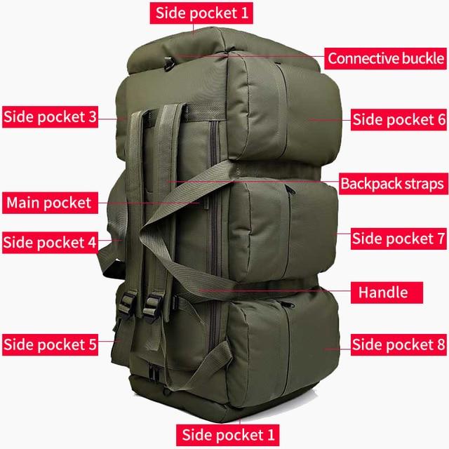 90L Large Capacity Men's Travel Bags Canvas Military Tactical Backpack Waterproof Hiking Climbing Camping Rucksack Bags XA216K 5