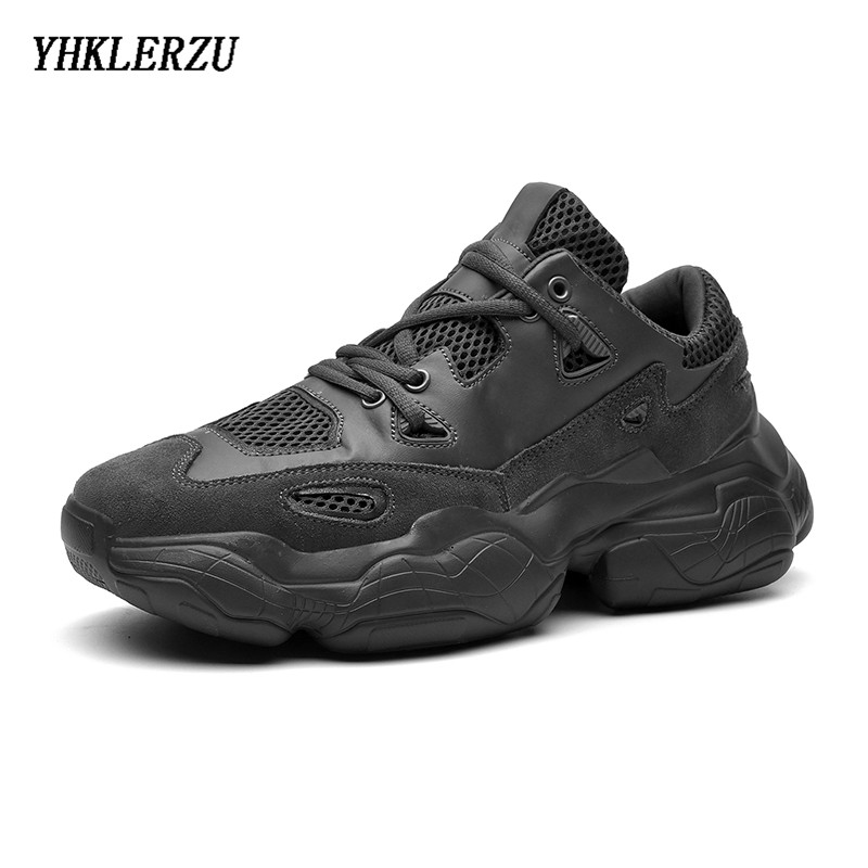 YHKLERZU 2019 New Sneakers Men Chunky Shoes Women Plus Size 36-47 Designer Breathable Platform Vulcanize Shoes Genuine Leather
