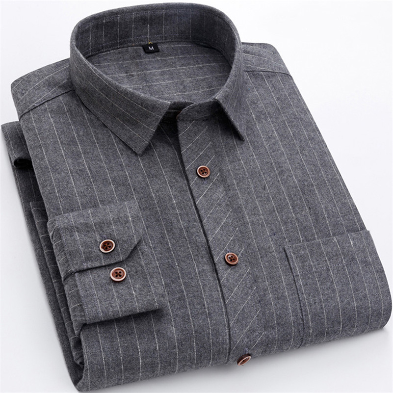 New Plaid and Striped men's long sleeve casual shirts turn down collar regular fit easy care 1