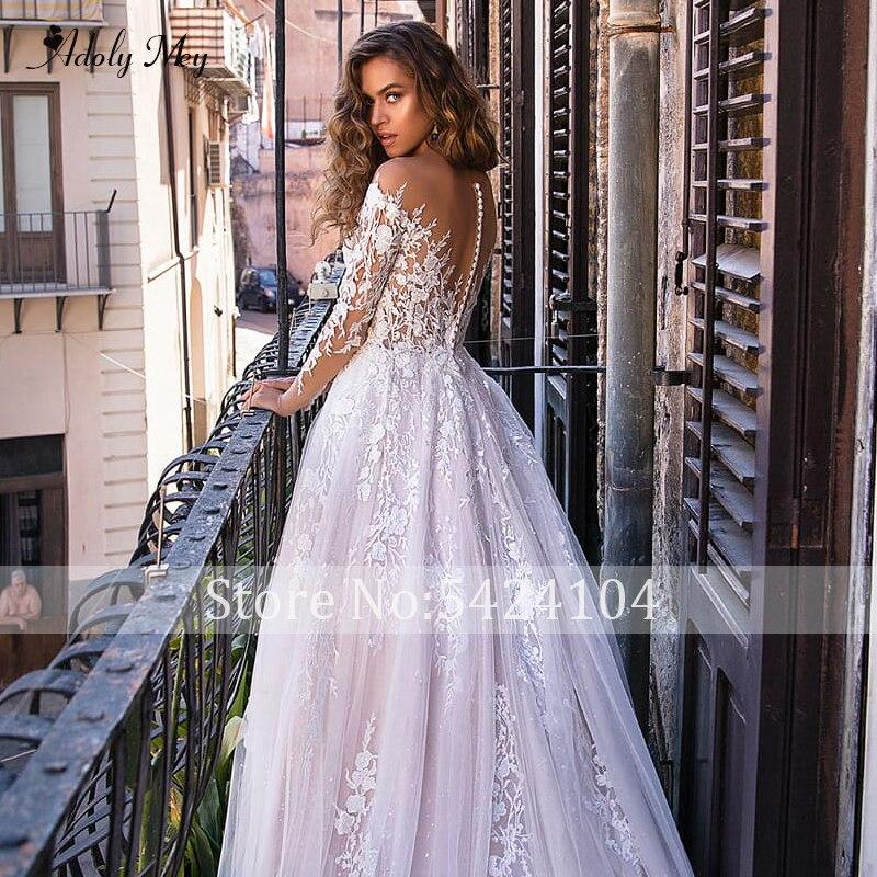 Image 4 - Adoly Mey New Charming Scoop Neck Button A Line Wedding Dresses 2020 Luxury Appliques Long Sleeve Vintage Bridal Gown Plus SizeWedding Dresses   -