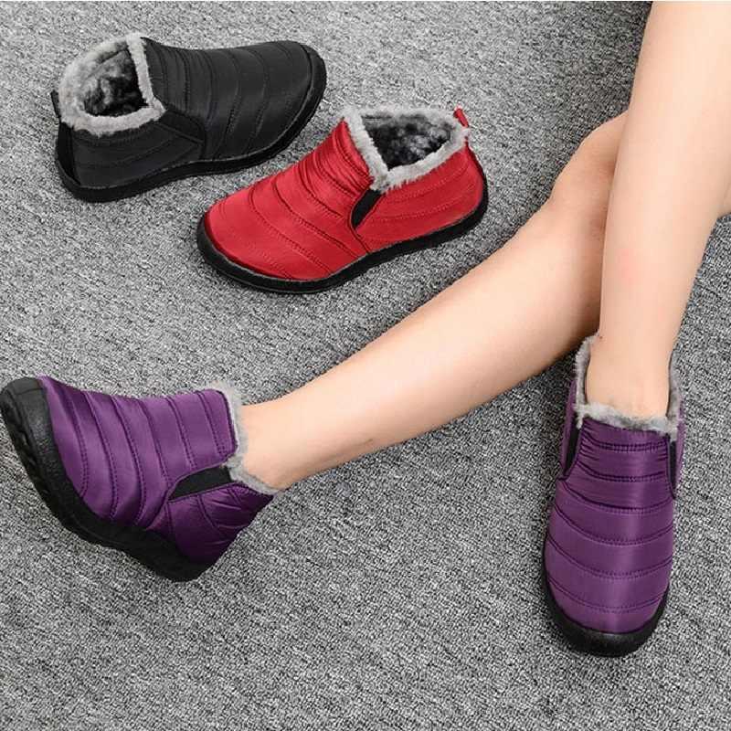 2019 kış kar botları kadınlar yeni sıcak kısa peluş kürk süet bileğe kadar bot artı boyutu kadın kayma düz rahat anne ayakkabısı