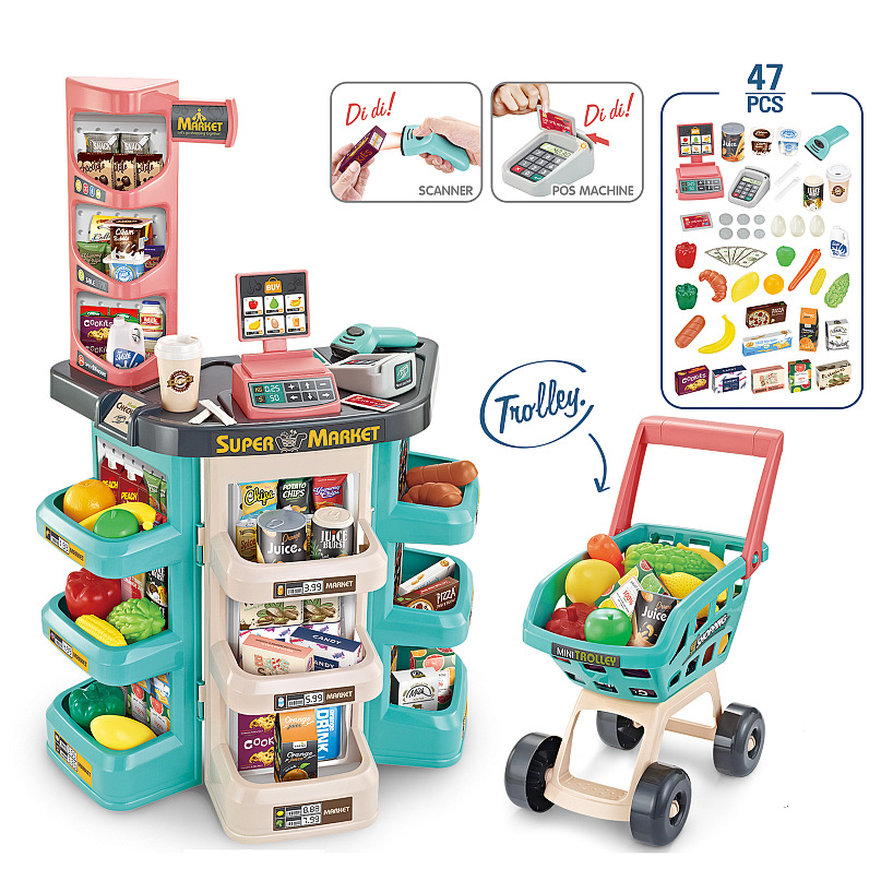 Simulated Supermarket Checkout Counter Role Play Cashier Cash Register Set Kids Pretend Play Early Educational Toys