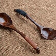 Новая деревянная ложка, Бамбуковая кухонная посуда, посуда для приготовления мороженого, кофе, чая, супа, ложка, креативная посуда, кухонная посуда