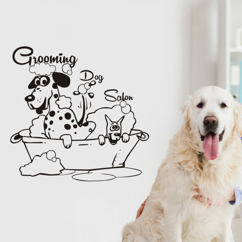 Grooming Salon Decal Pet Shop Sticker Decal Posters Vinyl Wall Art Decals Parede Decor Mural Pet Clinic Decal Sticker(China)