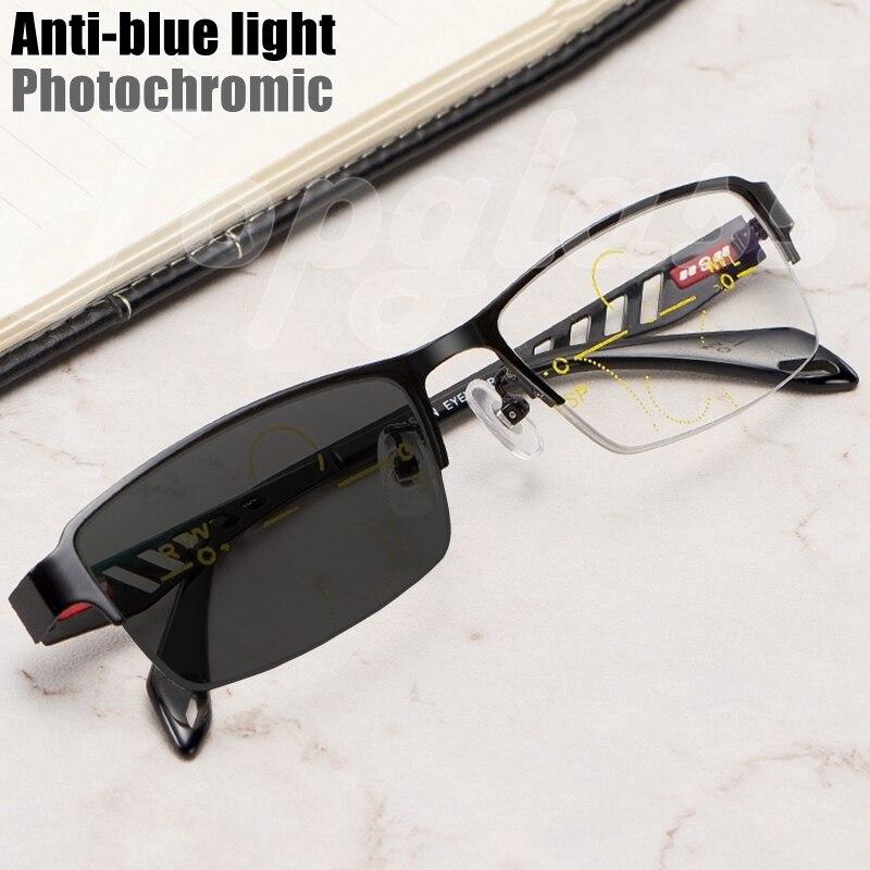 Фотохромные прогрессивные многофокальные очки для чтения, мужские высококачественные очки с защитой от синего света и дальнозоркостью, ме...