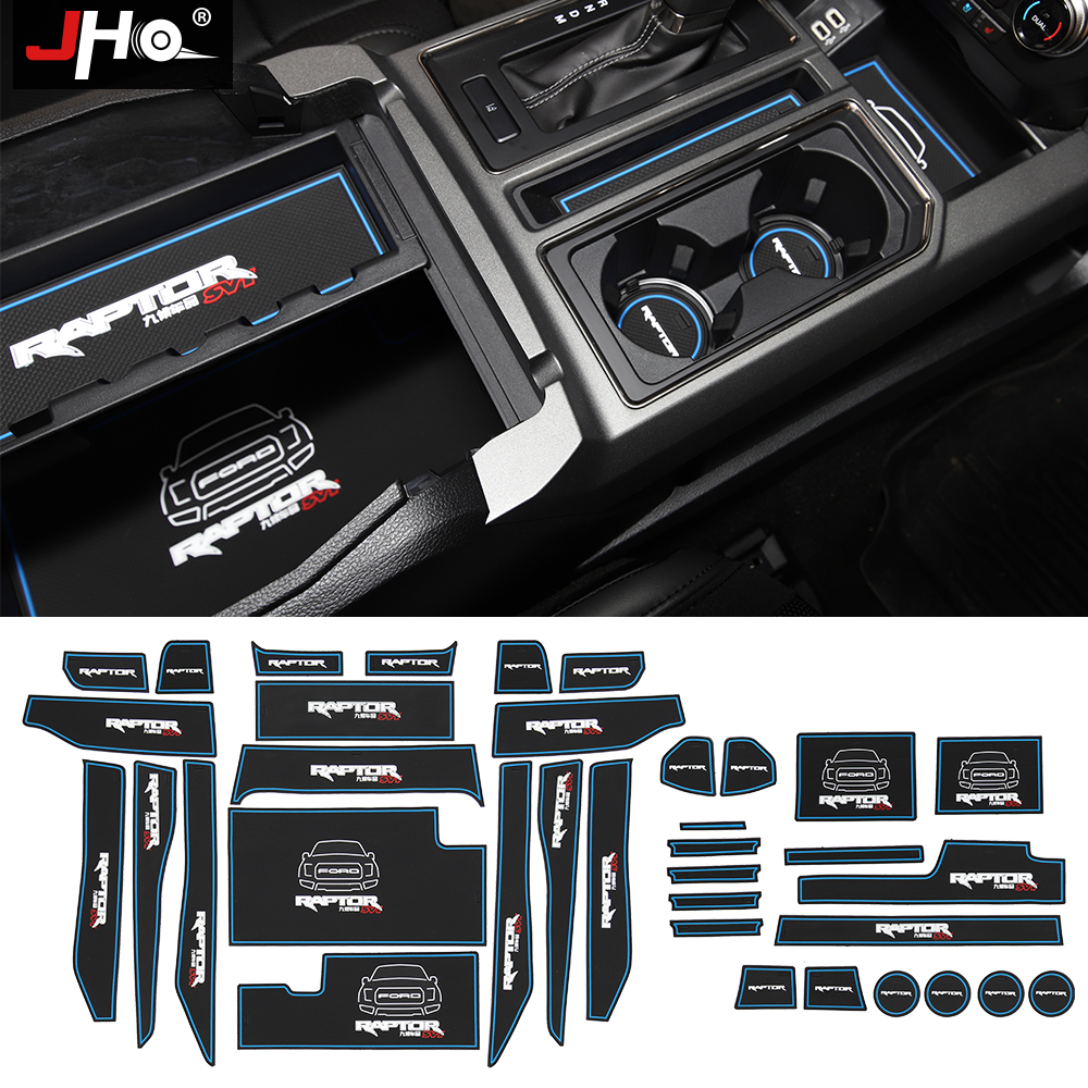 JHO Silicone Slot Pads Cup Holder Pickup Door Groove Mats For Ford F150 2016-2019 4-door Raptor 2017 2018 Truck Accessories