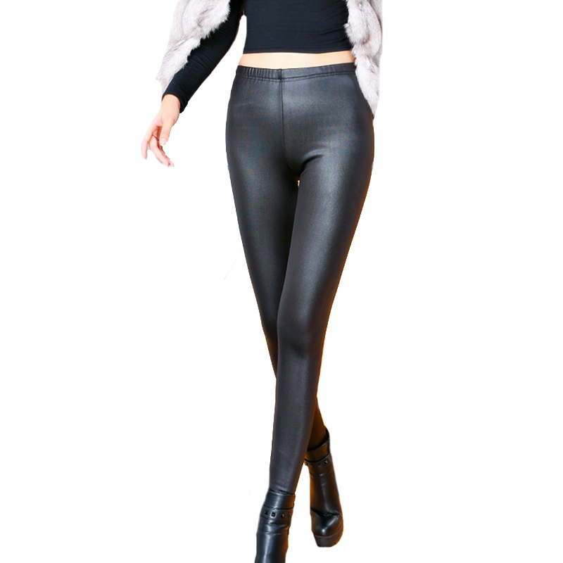 CHSDCSI Faux Leather Thickening PU Elastic Shaping Hip Push Up Pants Black Sexy Leggings For Women Jegging Gothic Leggins Winter