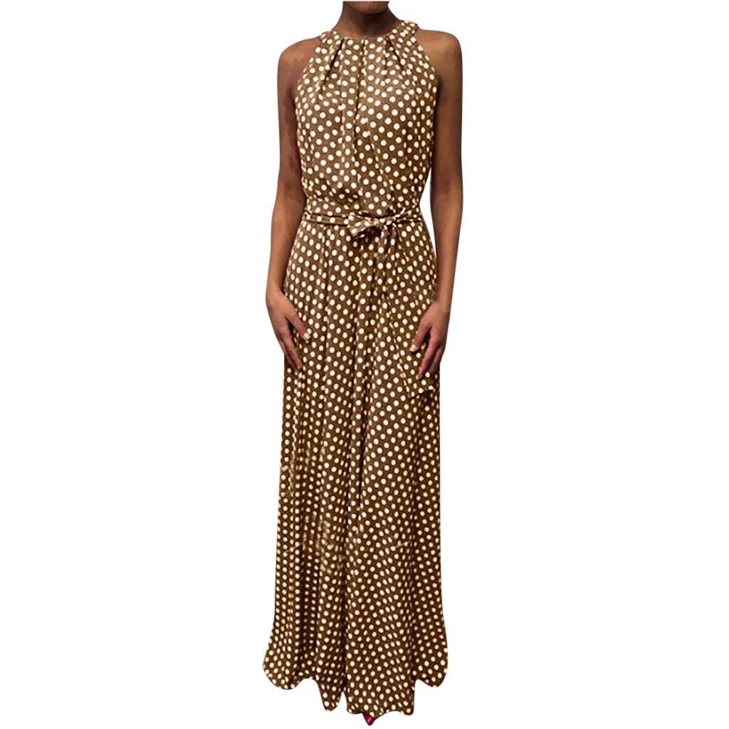 2020 Boho Women Blue Boho Loose Sleeveless Holiday Dot Print Long Maxi Dress Evening Party Beach Dresses Summer Sundress