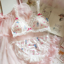 Japanese Kawaii Lolita Ultra Thin Bra and Panty Set Underwear Lace Bralette Sexy Lingerie for Small Chest Wire Free Bra Thong french style women sexy bra and panty set lace bralette retro underwear ultra thin lingerie wire free bra thong set intimates