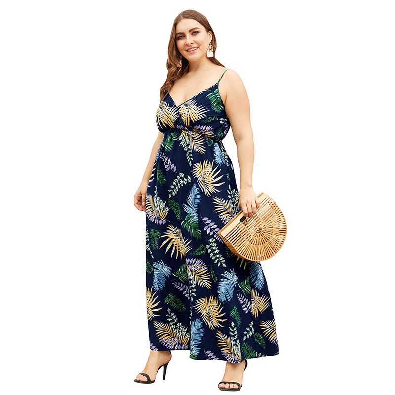 <font><b>Boho</b></font> Style 4XL Tall Women <font><b>Sexy</b></font> Cross <font><b>V</b></font>-Neck Vintage Black <font><b>Floral</b></font> <font><b>Print</b></font> Plus Size <font><b>Dress</b></font> Backless Bandage Long Strap Maxi <font><b>Dresses</b></font> image
