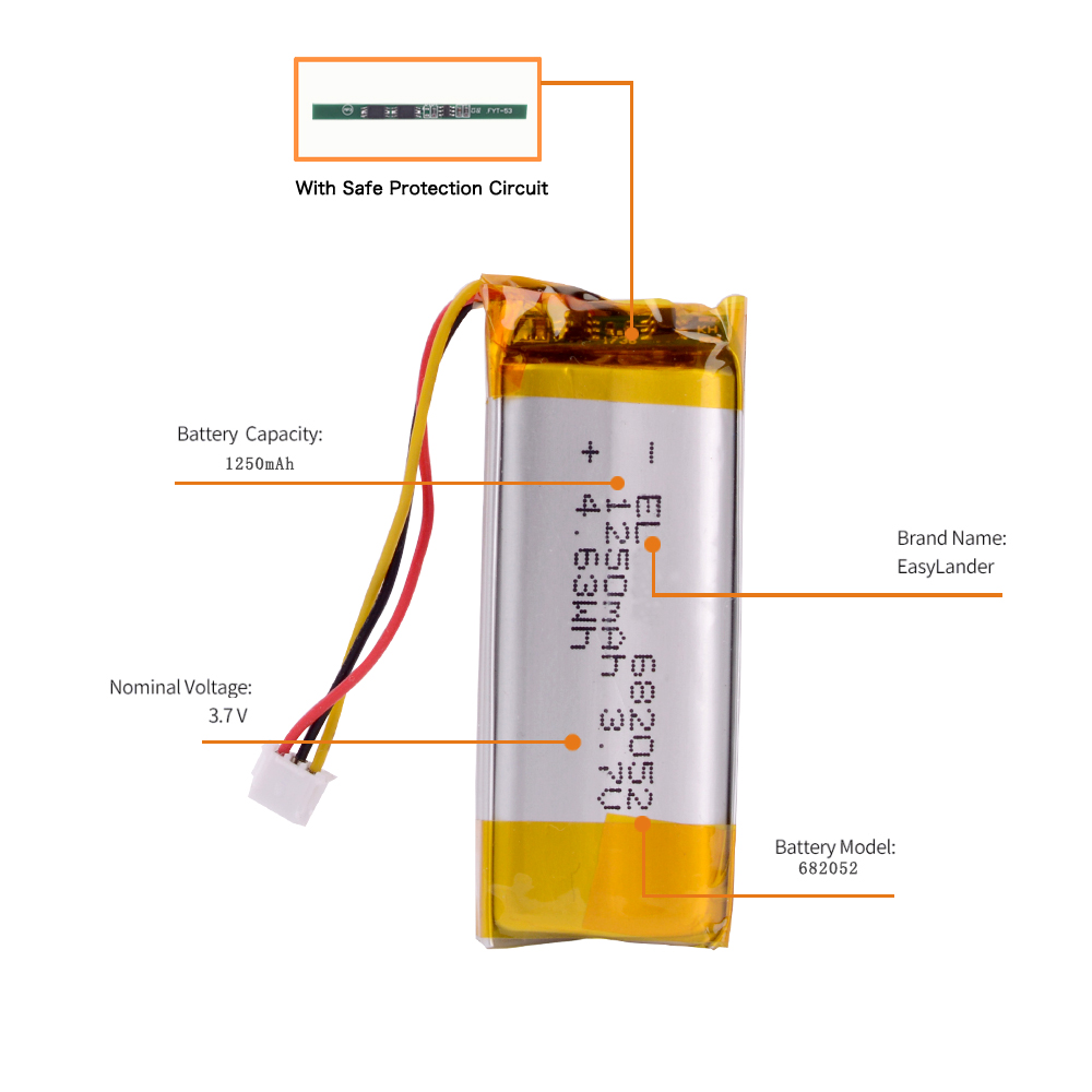 682052-2S 3.7V 1250 MAh Lithium Polymer Battery With Plug For Pet GPS Hunting Dog GPS DVR MP3 MP4 682052