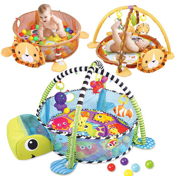 3 In 1 Baby Play Mat Round Lion Turtle Crawling Blanket Infant Game Pad Bedding Play Rug Kids Activity Mat Gym Folding Crawling