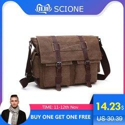 Scione prático negócios messenger bags para homens bolsa de ombro lona crossbody pacote de ombro retro casual saco viagem escritório