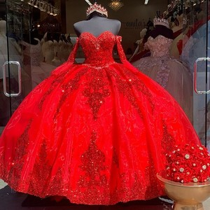 Real Photos Red Organza Sweet 16 Quinceanera Dress Sequined Applique Beaded Sweetheart Pageant Dress Mexican Girl Birthday Gown