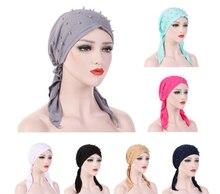 Muslim Women Hijab Abaya Cancer Chemo Hat Inner Cap Pearls Hair Loss Head Scarf Turban Head Wrap Islamic Cap Long Tail Bandanas  - buy with discount