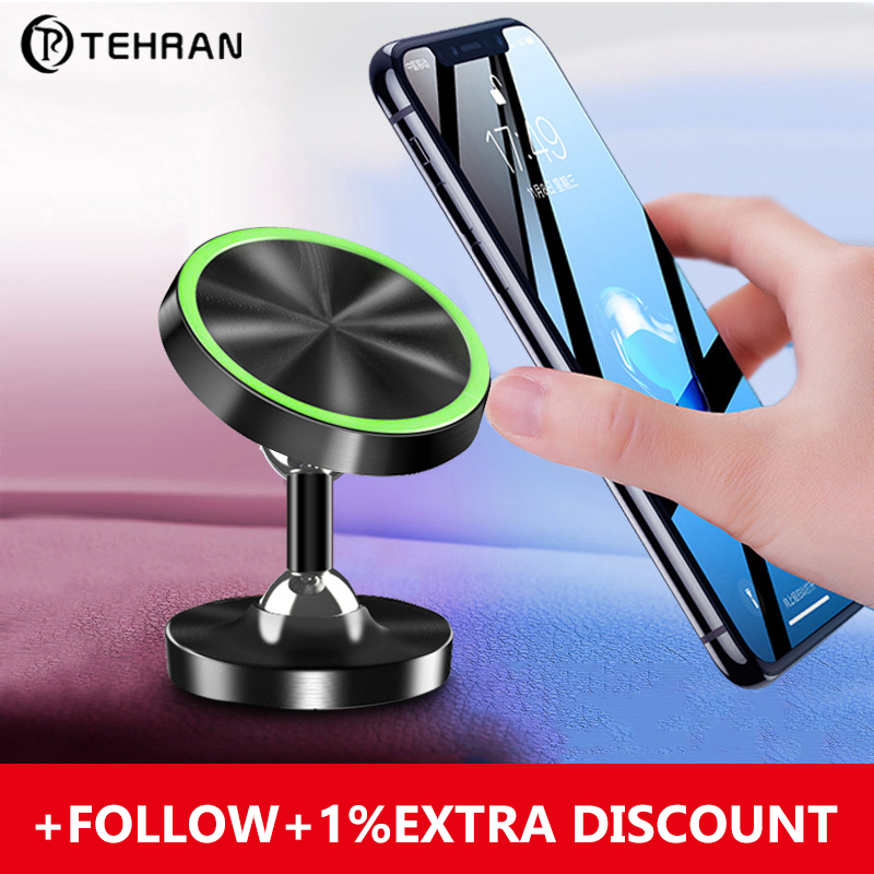 Tehran Luminous Magnetic Car Phone Holder For IPhone 11 Universal Holder For Phone In Car Magnet Mount Mobile Phone Holder Stand
