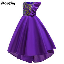 Luxe Asymmetrische Frilled Armsgaten Lange Prom En Meisjes Jurk 6-15 Leeftijd Purple Sequin Smoking Lange Red Carpet Pageant jurken Tiener(China)