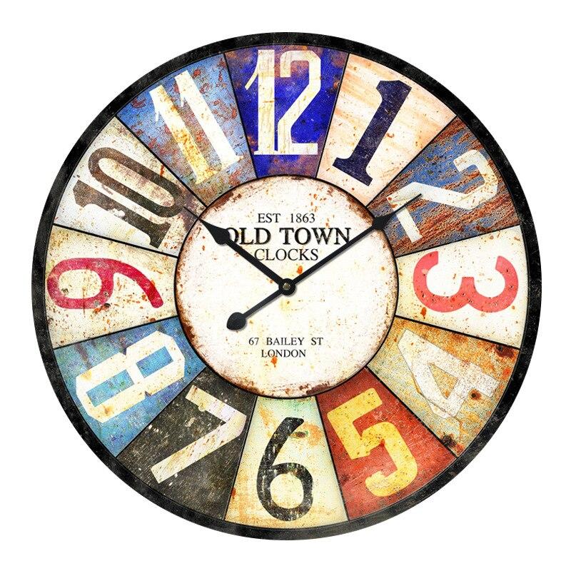 Industrie Antique horloge murale créative mode métal horloge murale simple horloge salon chambre horloge moderne ménage mur montre