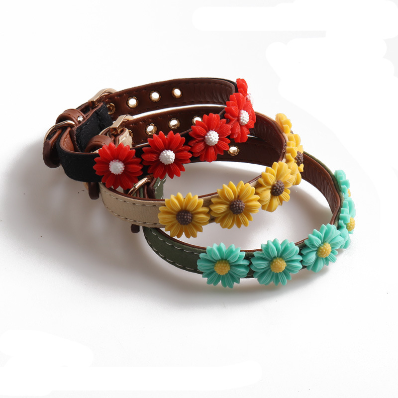 Amin Lattice New Products Pet Collar Dog Neck Ring Daisy Flower Multi-color Choice Cat Neck Ring Small And Medium-sized Dogs