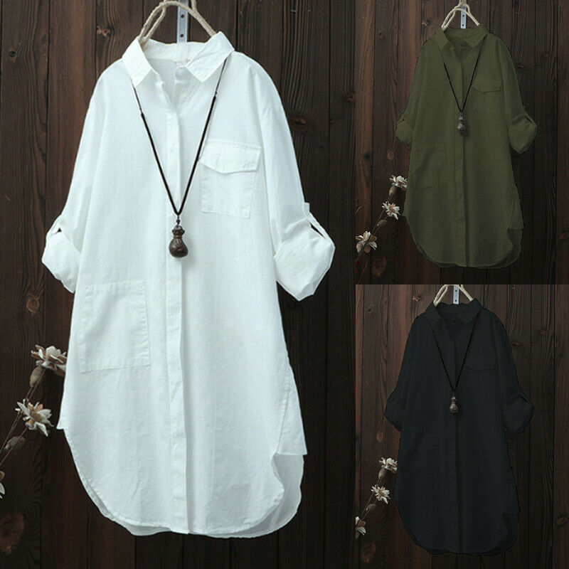 New Summer Women Sliod Color V Neck Blouses Loose Baggy  Shirts And Blouses Cotton Button Padding Tunic Blouses Plus Size S-2XL