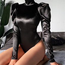 Sampic Women Sexy Casual Stain Turtleneck Long Puff Sleeve Bodysuit Tops Black R