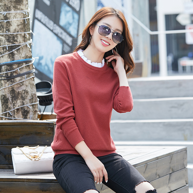 2019 New Autumn And Winter Women's Trend Fake Two-piece Pullover Round Neck Knitted Sweater