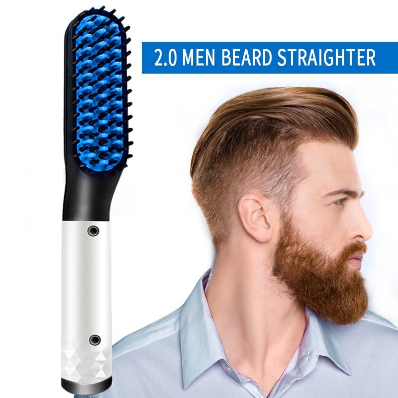 2.0 Multifunctional Beard Straightener Hair Straighten Straightening Comb Beard Comb Hair Brush Quick Hair Styler Men VIP LINK