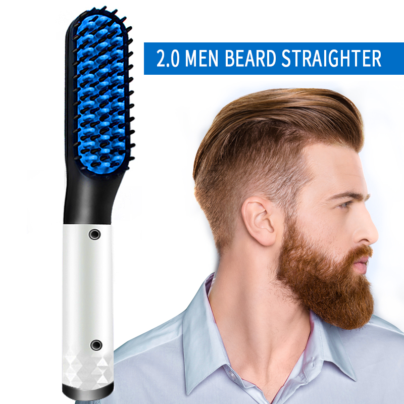 2.0 Multifunctional Hair Comb Brush Beard Straightener Hair Straighten Straightening Comb Hair Curler Quick Hair Styler Men