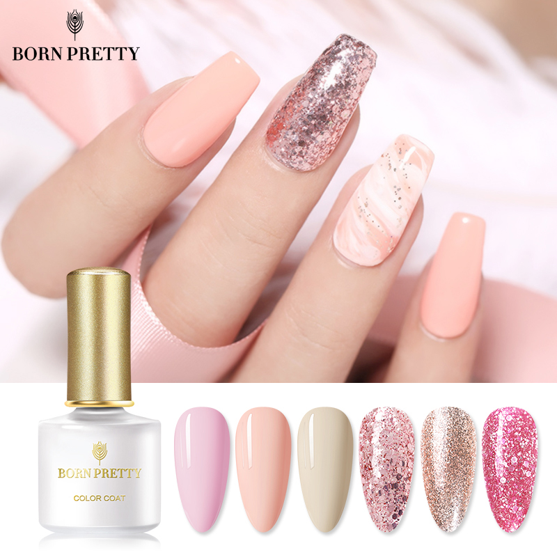 BORN PRETTY Living Coral Color Gel Polish 6ml Shimmer Glittery Rose Pink Soak Off Nail Art Gel Varnish Gel Nail Polish