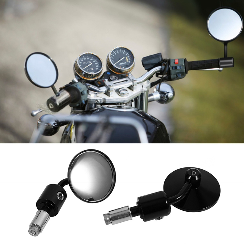 "1Pair Round 7/8"" Handlebar Motocycle Rearview Mirrors Moto End Motor Side Mirrors Motorcycle Racer Accessories"