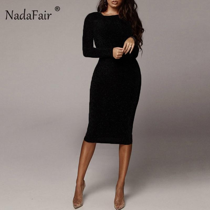 Nadafair Solid O Neck Long Sleeve Midi
