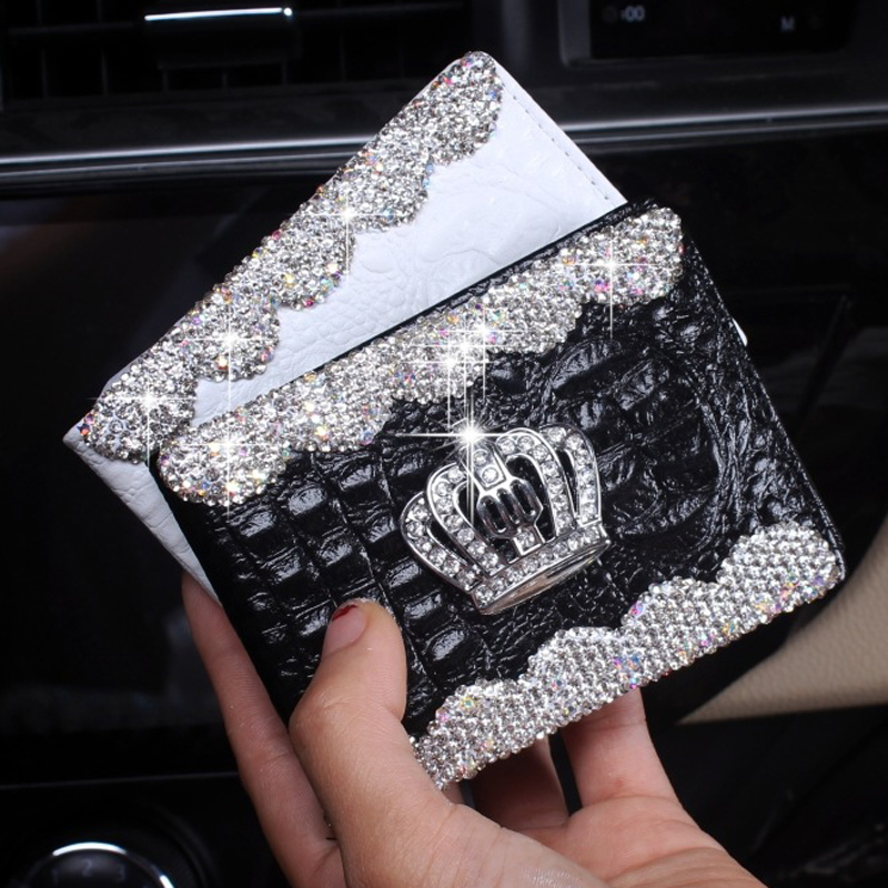 Auto Driver License Cover Crystal Crown Car Driving License Crocodile Leather Case For Car Driving Documents Card Credit Holder