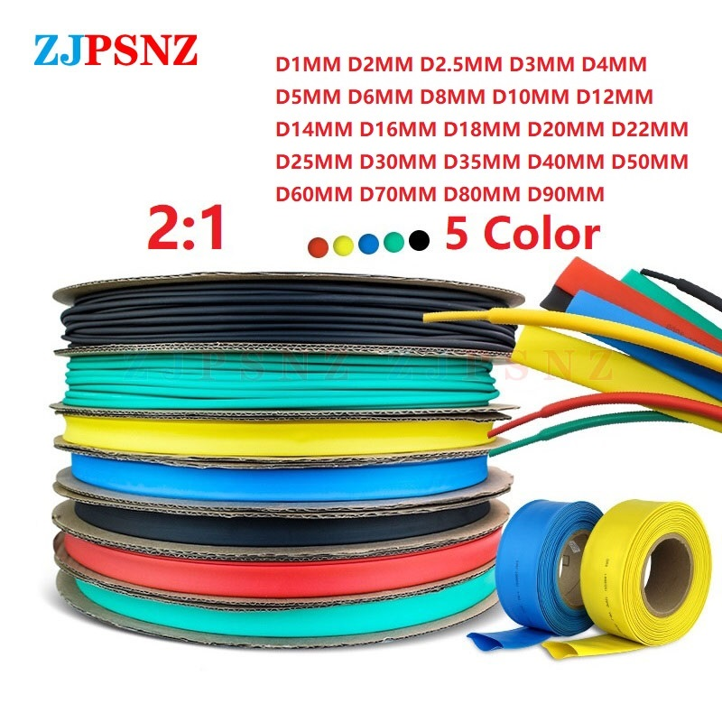 1/10 Meters 1/2/3/4/5/6/8/10/10/12/14/16/18/30/40/50/60/70/80/MM Heat Shrink Tubing Tube kit Insulation Tubing Wire Cable 5Color