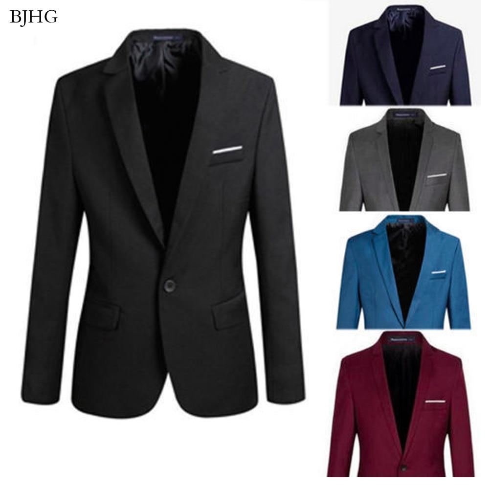 BJHG 2019 S-4XL Men's Formal Slim Fit Formal One Button Suit Long Sleeve Notched Blazer Cotton Blend Coat Jacket Top