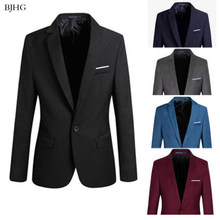 Bjhg 2019 S-4XL Formal Slim Fit Formal Satu Tombol Setelan Lengan Panjang Berlekuk Blazer Katun Jaket Mantel top(China)
