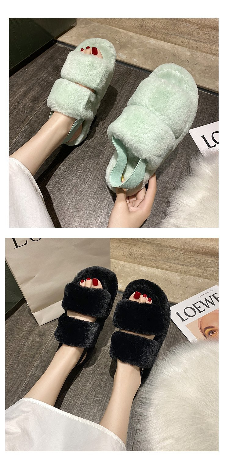 2020 winter Korean net red fur Women's shoes female flat word with fur slippers fashion thick bottom home lazy slippers women
