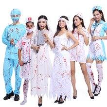 Halloween Cosplay Costume Surgical-Doctor Nurses'-Uniform Adult with Blood Men Popular