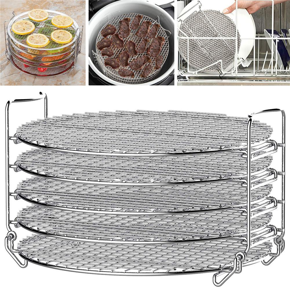 5 Layers Stackable Grill Stand Air Fryer Food Grade Stainless Steel Dehydrator Rack Accessories Easy Install Clean Kitchen Tools