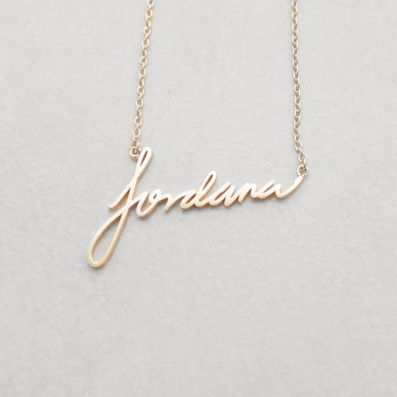 Personalized Custom Actual Handwriting Necklace BFF Stainless Steel Silver Gold Chain Choker Necklace Women Girls Custom Jewelry