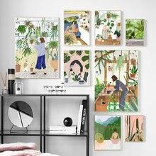 Moda dziewczyna rośliny liście ilustracja obraz ścienny na płótnie Nordic plakaty i druki obraz ścienny na wystrój salonu