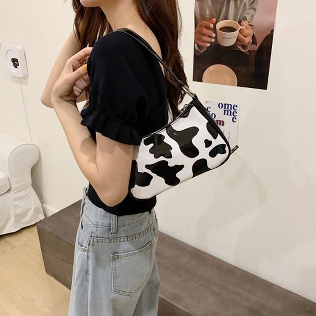 cow pattern baguette bags  for women fashion designer shoulder bags crossbody bag small cute messenger bag handbags and purses 6