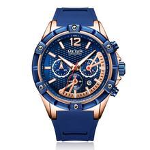 MEGIR mens watches top brand luxury Fashion silicone strap alloy case Pointer luminous watch 2083G цена и фото