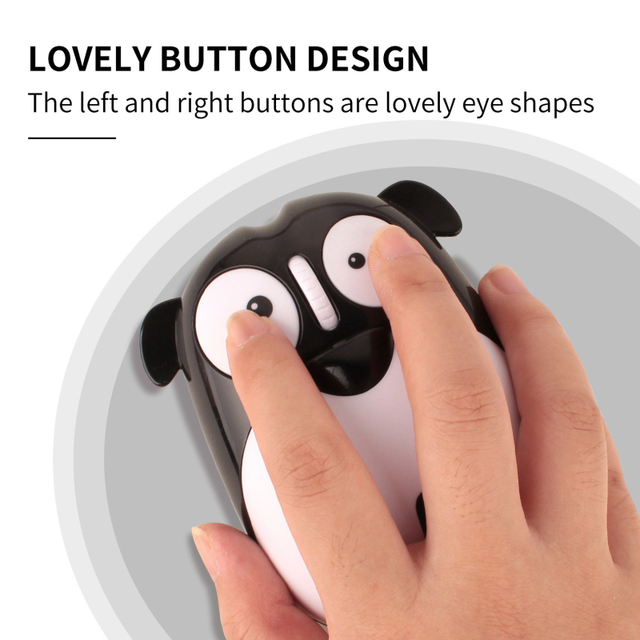 1pc Newest Power Saving Mute Rechargeable Wireless Mouse Cute Animal Puppy Mouse 2.4G Wireless Mouse Rechargeable Mouse 6