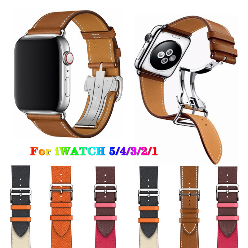Applicable apple watch strap Hermes Apple watch strap S4 soft leather tide iwatch 2/3 generation female male iphone series tide|Watchbands| - AliExpress
