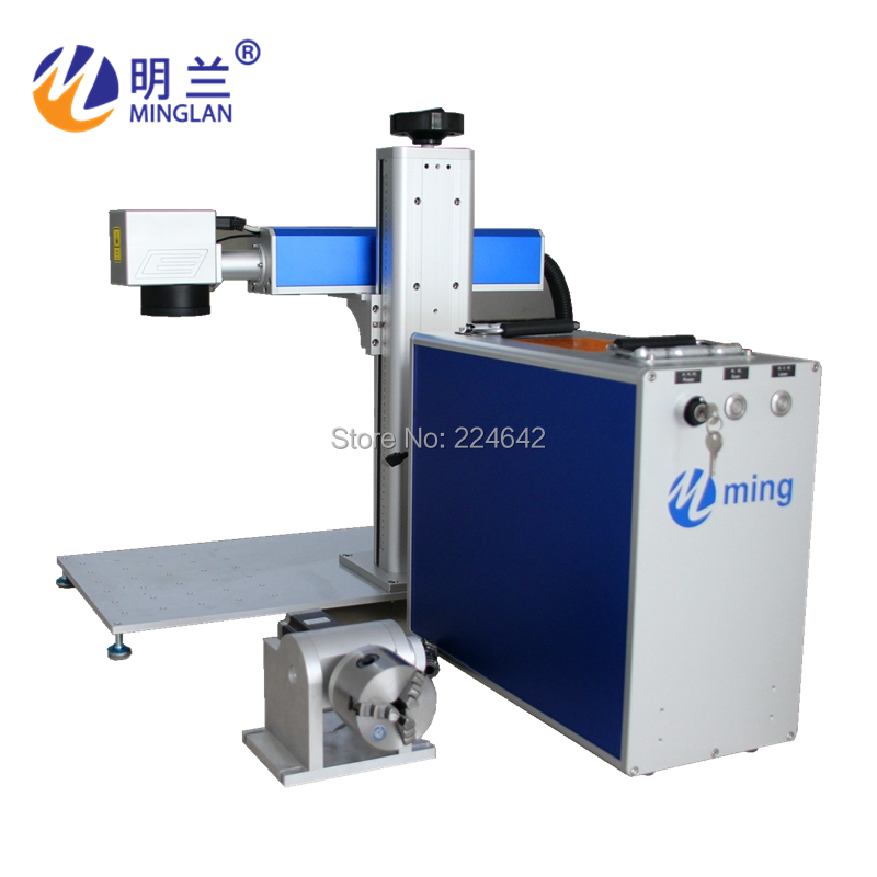 20W fiber laser marking machine on metal/ Minglan with CE FDA CO/ 20W fiber laser engraving machine with rotary/ By Air Sea DHL - 4