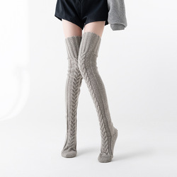 Popular knitted socks over the knee stockings lengthened thickened Autumn and winter European and American women worsted socks