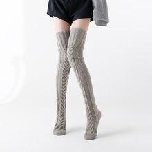 Popular meias de malha sobre o joelho meias alongadas engrossado outono e inverno europeu e americano